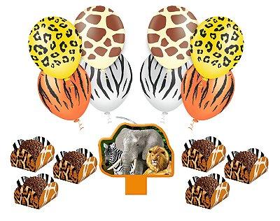 Kit Festa 6 - Mundo Animal  - Vela + 25 Balões + 40 Forminhas Doces