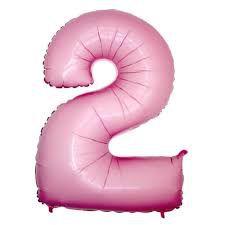 Balão Metalizado 40cm - Rosa Claro - Número 2