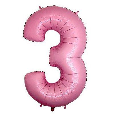 Balão Metalizado 40cm - Rosa Claro - Número 3