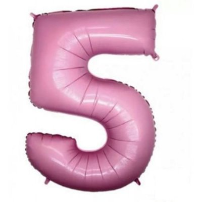 Balão Metalizado 40cm - Rosa Claro - Número 5