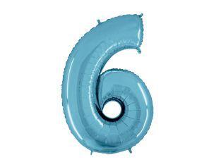Balão Metalizado 40cm - Azul Claro - Número 6