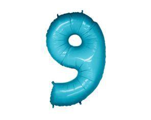 Balão Metalizado 70cm - Azul Claro - Número 9