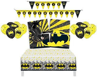 Kit Decoração Festa - Batman Geek - Painel Balões faixa Toalha De Mesa