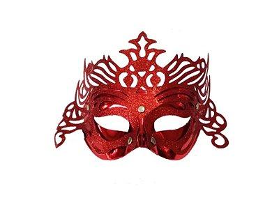 Máscara de Carnaval - Metalizada com Glitter - Vermelho