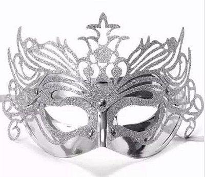 Máscara de Carnaval - Metalizada com Glitter - Prata