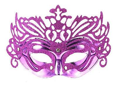 Máscara de Carnaval - Metalizada com Glitter - Roxa