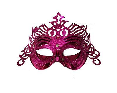 Máscara de Carnaval - Metalizada com Glitter - Rosa