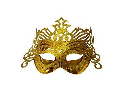 Máscara de Carnaval - Metalizada com Glitter - Dourado