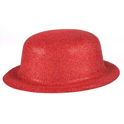 Chapéu - Coquinho de Plástico com Glitter - Vermelho