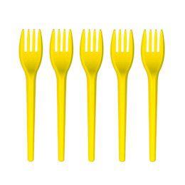Garfo De Sobremesa Descartável - Amarelo - 50 Unidades