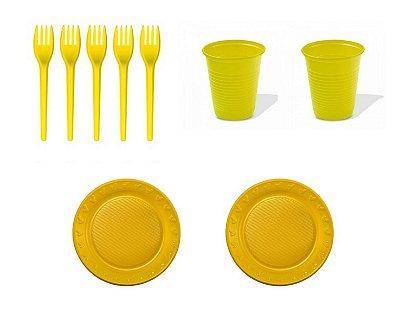Kit Descartável - Amarelo - 150 Itens