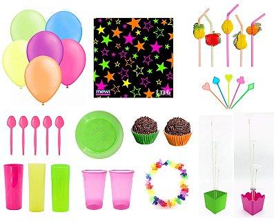 Kit Decoração de Festa Neon - Ganhe Topo de Bolo