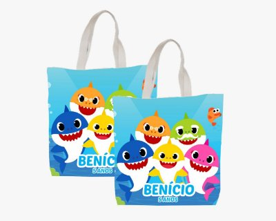 10 Eco Bag Personalizada - 25 x 30 - Baby Shark
