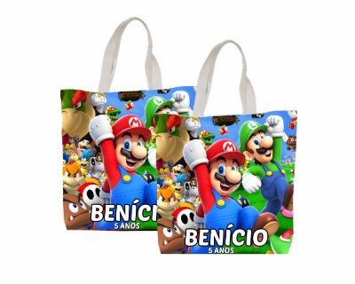 10 Eco Bag Personalizada - 25 x 30 - Super Mario
