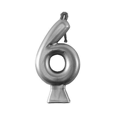 Vela Numeral Metalic - Prata Nº 6
