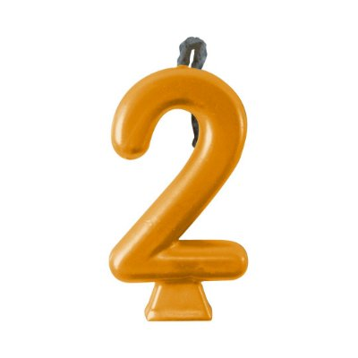 Vela Numeral Metalic - Dourada  Nº 2
