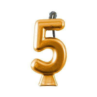 Vela Numeral Metalic - Dourada  Nº 5
