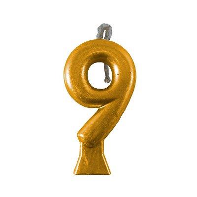 Vela Numeral Metalic - Dourada  Nº 9