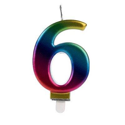 Vela Numeral Wave - Nº 6