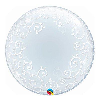 Balão Deco Transparente Arabesco -Bubble -Qualatex