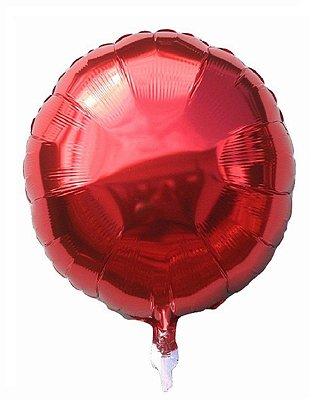 Balão Metalizado Redondo Vermelho -45 cm