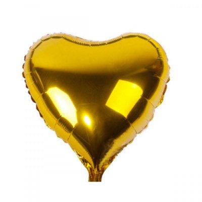 Balão Metalizado  - Coração Dourado - 45cm