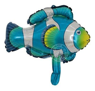 Balão Metalizado Peixe Azul - 35 cm