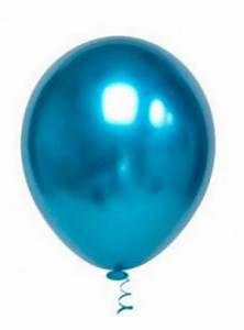 Balão Cromado Redondo N° 5  - Azul - Ideal para Topo de Bolo
