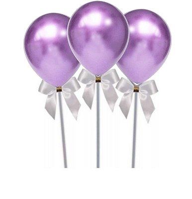 KIt  Topo de bolo - Haste + pacote n°5 Balão Violeta