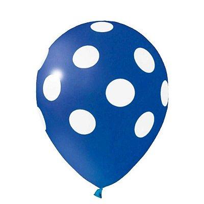 Balão N° 10- Bolinhas Azul com Branco - 25 unidades