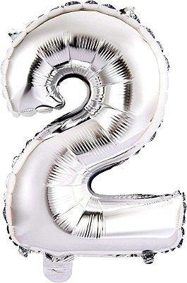 Balão Metalizado 45cm Número - Prata - 2