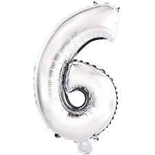 Balão Metalizado 45cm Número - Prata - 6