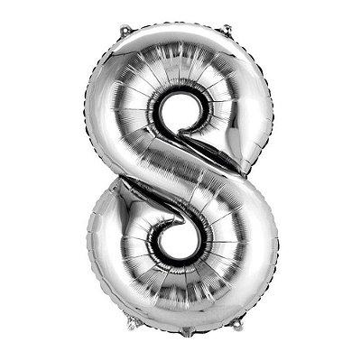 Balão de Numero 8 Prata - 45 cm