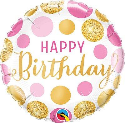 Balão Metalizado  Birthday - Pontos Rosas e ouros