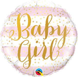 Balão Metalizado  Baby Girl listra Rosa