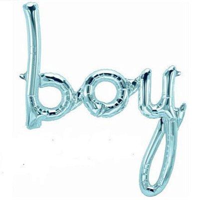 Balão Metalizado Escrita  Boy - Azul Pastel