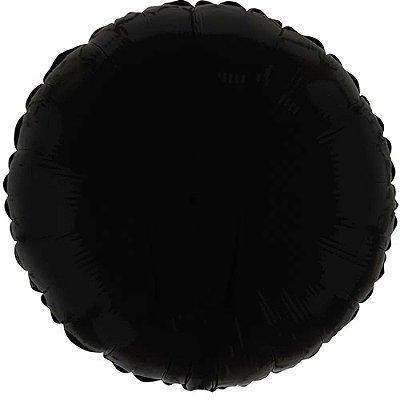 Balão Metalizado Redondo Preto Cromo 45 cm