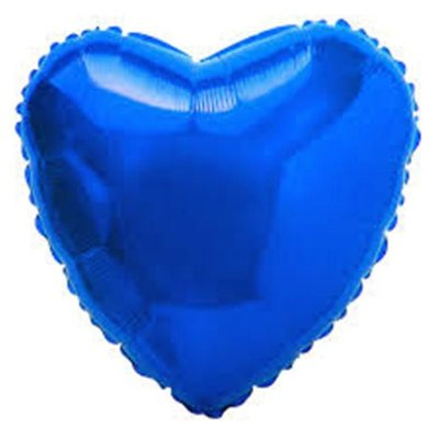 Balão Metalizado  - Coração Azul Cromo - 45cm
