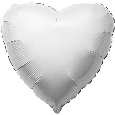 Balão Metalizado  - Coração Branco Cromo - 45cm