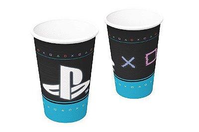 Copo de Papel Decorado PlayStation - 08 unidades - 200 ml