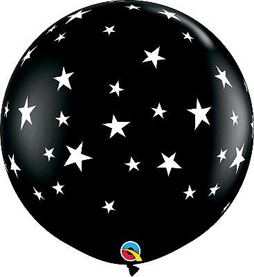 Balão Latex Redondo 3 Pés - Preto com Estrelas - Gigante