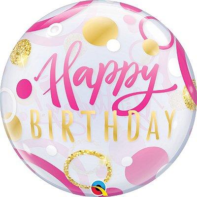 """Balão Buble 22"""" Happy Birthday - Rosa e Dourado - 56 cm"""