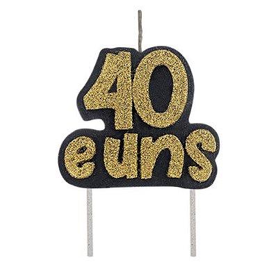 Vela Dourada em Glitter  - 40 e uns