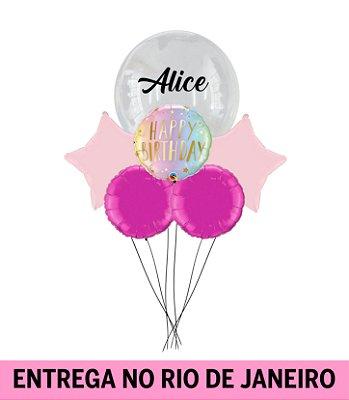 Bouquet balão Bubble Personalizado-  Inflado com gás hélio - Happy Birthday