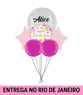 Bouquet balão Bubble Personalizado-  Inflado com gás hélio - Happy Birthday 2