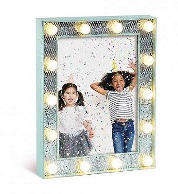 Porta Retrato Azul com Glitter de LED