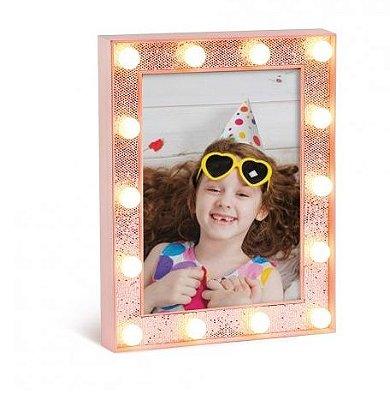 Porta Retrato Rosa com Glitter de LED