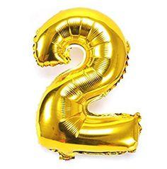 Balão Metalizado Numero 2 - Dourado 100cm