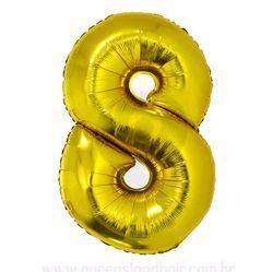Balão Metalizado Numero 8 - Dourado 100cm
