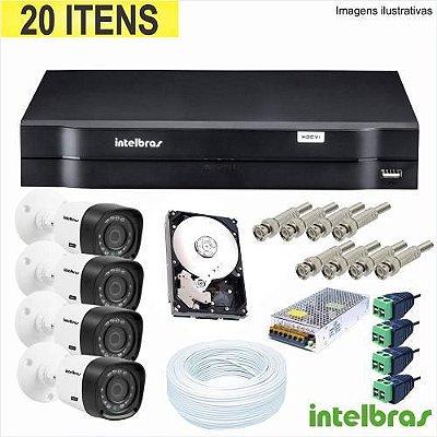 Kit-Cftv-Com-04-Câmeras-Hdcvi + Dvr 04 Ch Hdcvi Tri Hibrido 1004 Intelbras Com Hd